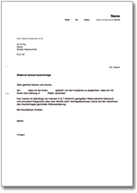 Vorlage Musterbrief Widerruf R 252 Cktritt Vom Kaufvertrag De Musterbrief