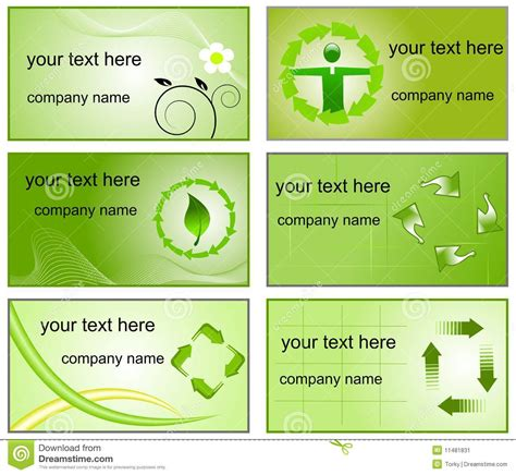 recycling cards recycling logos and business cards templates stock image