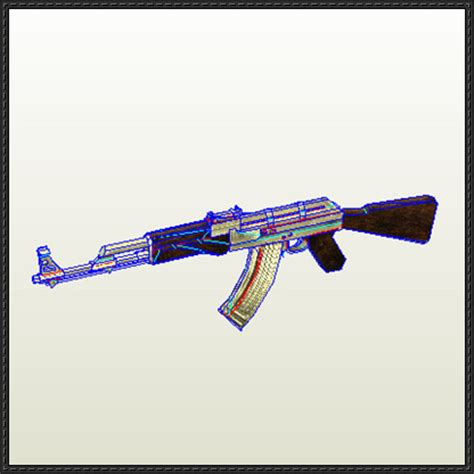Papercraft Ak 47 - call of duty size ak 47 free paper model