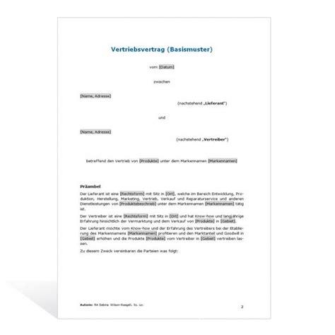 Brief In Schweiz Dauer Muster Vertriebsvertrag Basismuster