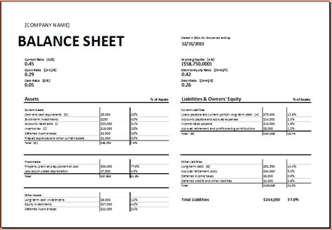 balance sheet template excel 7 balance sheet template excel bookletemplate org