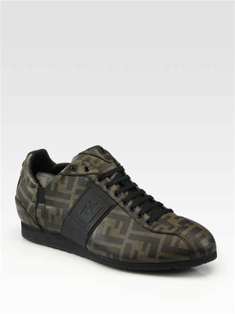 fendi sneakers fendi zucca canvas sneakers in brown for lyst