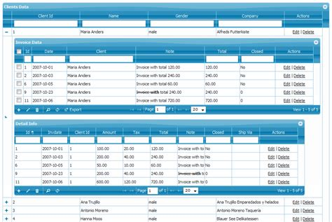 grid layout php multiple subgrids at same level php grid framework