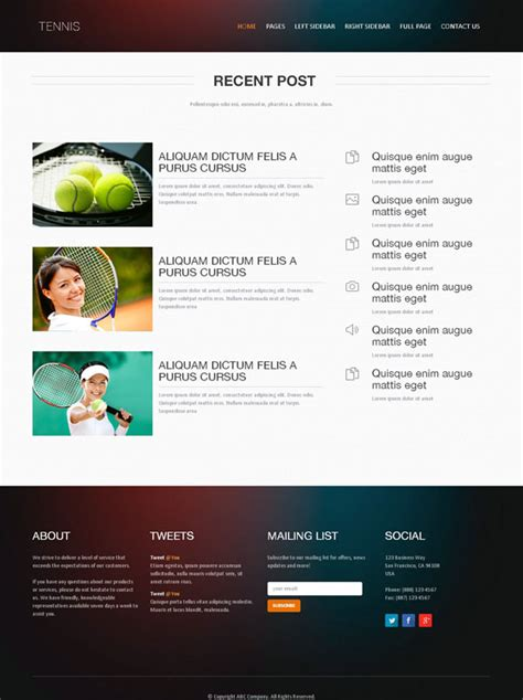 Tennis Academy Web Template Tennis Website Templates Dreamtemplate Free Website Templates For Academy