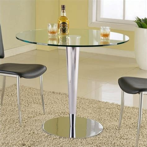 Clear Kitchen Table Chintaly Grand Glass Top Dining Table In Clear And Chrome Grand Dt B T Kit