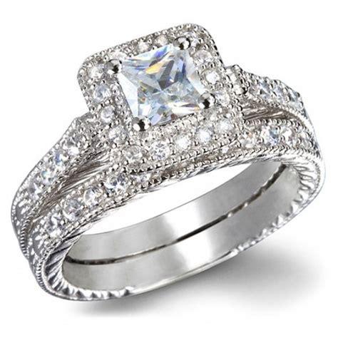 certified 1 carat princess cut vintage wedding