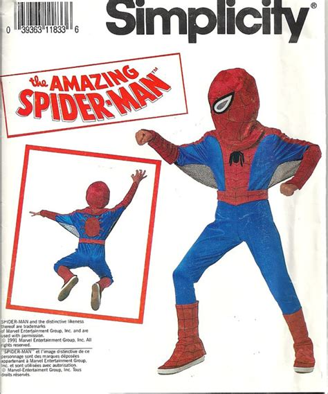 spiderman sewing pattern child s spiderman costume vintage sewing pattern