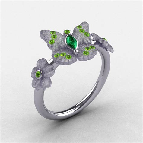 natures nouveau platinum emerald and peridot butterfly