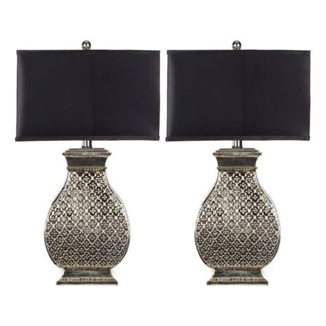 silver l with black shade safavieh spain table l in silver with black satin shade
