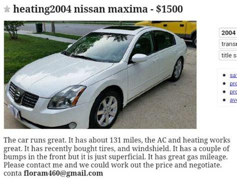 victim loses   craigslist vehicle scam