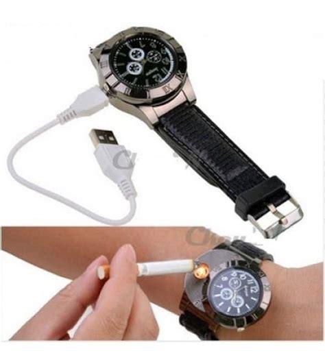 Jam Tangan Pria Korek Api Elektrik jual jam tangan pria korek elektrik usb hadiah api rokok
