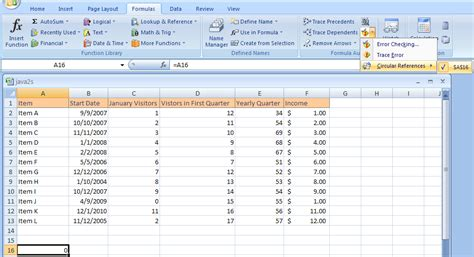tutorial microsoft office excel 2007 enable and increase formula iterations to make a circular