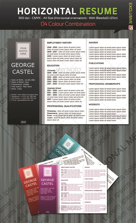 horizontal resume with 04 colour combination by kh2838