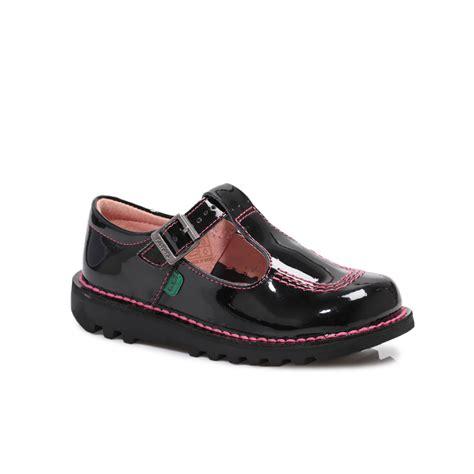 Kickers Shoes 5 kickers kick t bar black patent leathe sandals shoes size 8 5 11 ebay