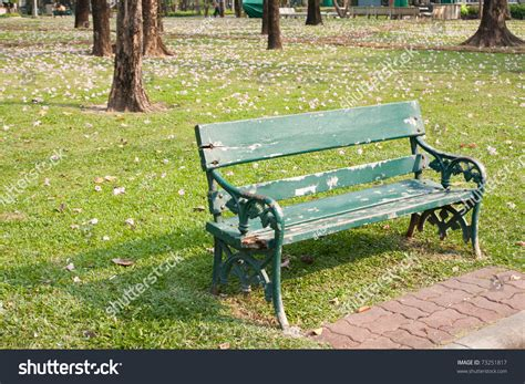 a bench in the park bench in the park benches are provided sit in the garden stock photo 73251817