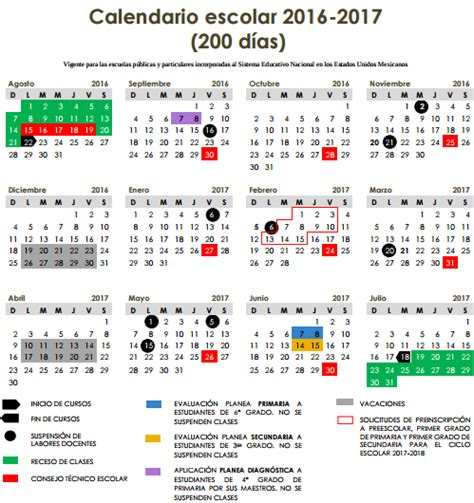 imprimir calendario escolar 2016 2017 calendarios escolares ciclo 2016 2017 sep educaci 243 n