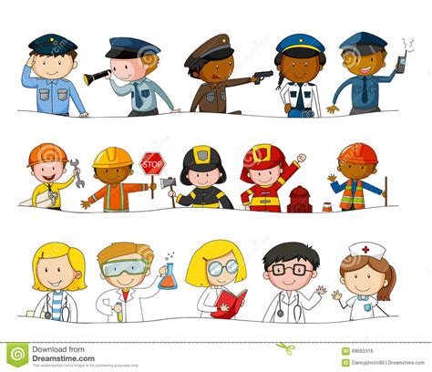 Clipart Vector Of The Carpenter Cartoon Illustration Of different kind of occupations stock vector image 68665316