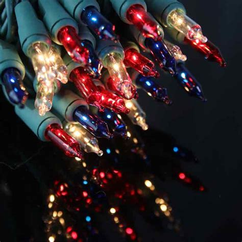 red christmas lights white wire 50 red white blue christmas lights 4 inch green wire