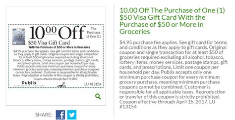 visa gift card fine print publix 10 off 50 visa gift card with 50 or more in