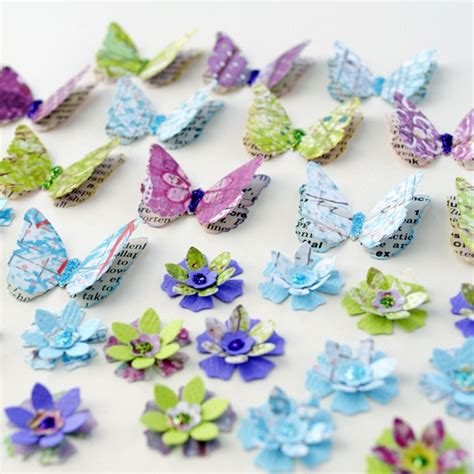 Handmade Paper Butterflies - layered handmade paper butterflies and flowers with
