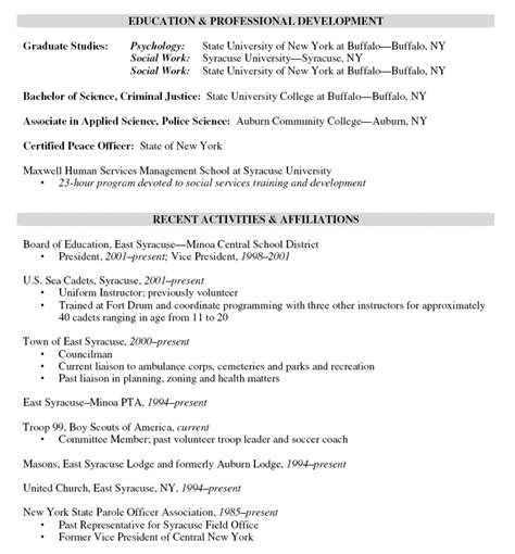 Probation And Parole Officer Sle Resume by Exle Resume December 2014