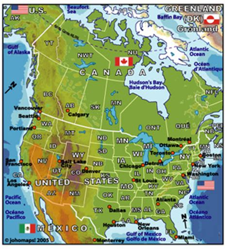 the united states and canada physical map physical map of united states and canada