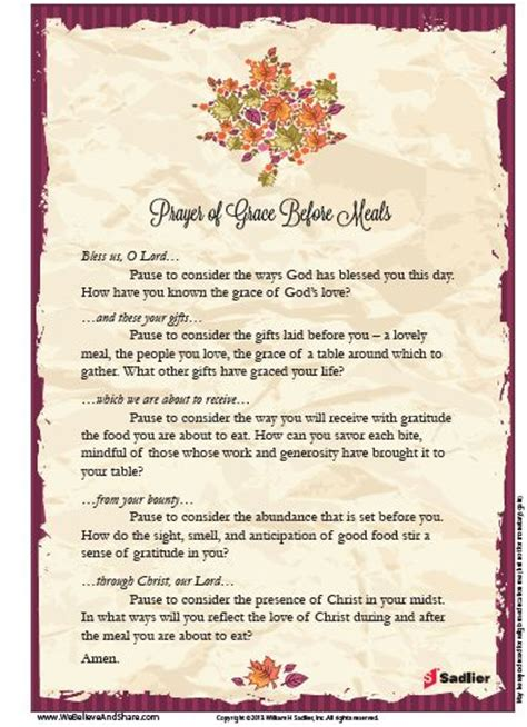 Wedding Dinner Blessing Catholic by Prayer Grace O Malley And Meals On