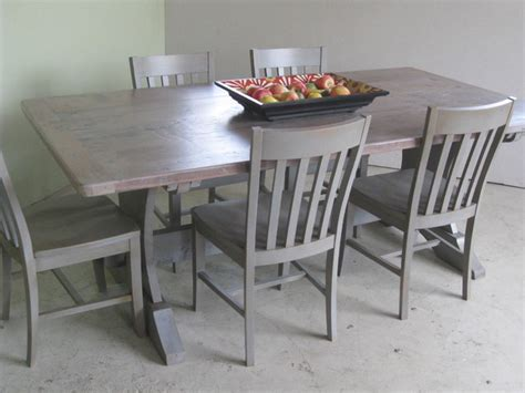 reclaimed wood table with driftwood finish farmhouse