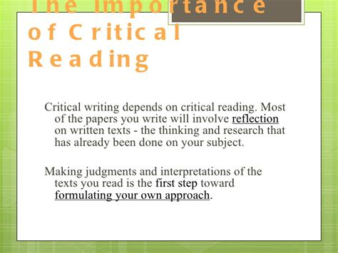 Critical Reading Essay by Critical Reading And Writing