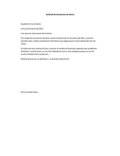 carta solicitud de notas solicitud de devolucion de dinero