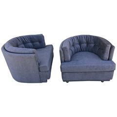 navy tufted barrel chair navy blue leather sofa by nicoletti salotti at 1stdibs