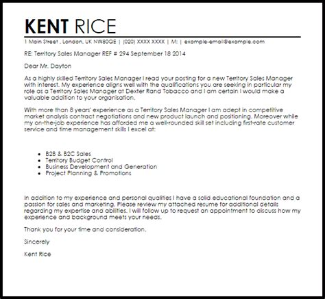 Territory Sales Manager Cover Letter Sample   LiveCareer