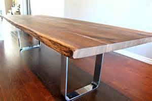 salvaged live edge harvest table black walnut custom metal