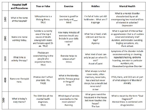 printable health games for adults mental health group therapy games