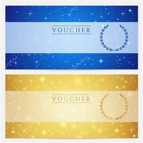 background voucher gift certificate voucher coupon template with sparkling