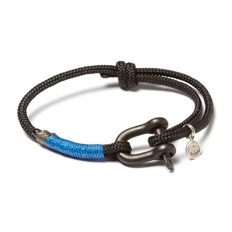 Blackened Stainless Steel D Shackle Adjustable Cuff // Black   Blue   JLK   Touch of Modern