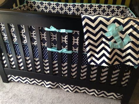 Nautical Boy Crib Bedding by Custom Crib Bedding Nautical Navy Or Any Fabric By