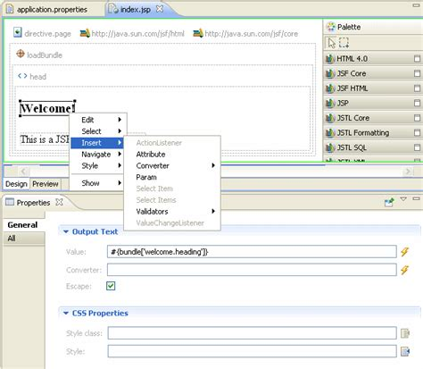 Eclipse Jsp Editor Design View | web application development using the web page editor