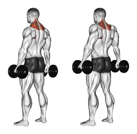 testa spalle gambe e piedi scrollate di spalle con manubri esercizio per il