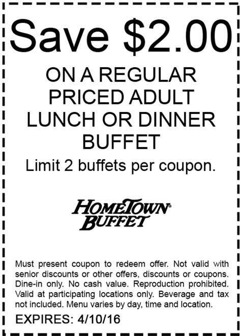 Hometown Buffet Coupons 2 Off Lunch Or Dinner At Hometown Buffet Dinner Coupon
