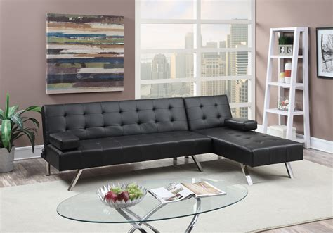 poundex f7886 black faux leather sectional sofa bed f7886 black 2 pcs convertible sectional sofa set by poundex