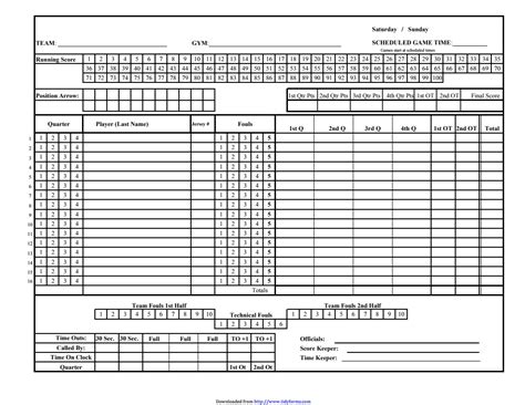 Basketball Stat Sheet Free Download Chlain College Publishing Score Sheet Template Excel