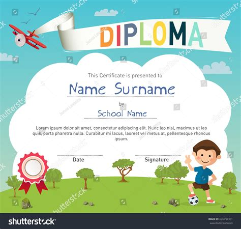 colorful kids summer camp diploma certificate stock vector