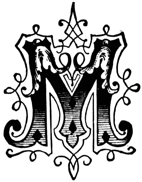 M Drawing Design by M Ornamental Letter Clipart Etc