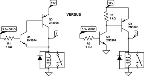 pnp transistor relay driver schematics correct way to add high side transistor to circuit with higher vcc than mcu