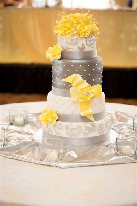yellow and silver wedding cakes wedding cake with silver white and yellow colors and