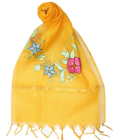 Free Self Background Check Buy Womens Cottage Golden Yellow Chanderi With Self Checks Painted Floral Design