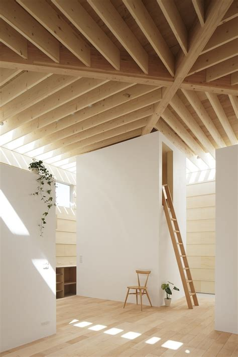 wood beams on ceiling japanese minimalist home design