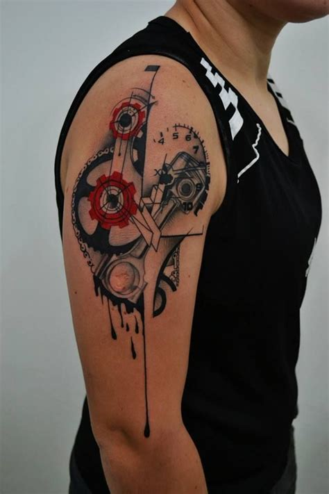 motorcycle heartbeat tattoo mechanical like the and black ink