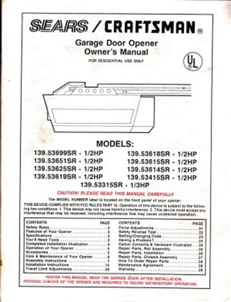 Craftsman Garage Door Opener Repair Manual Sears Craftsman Garage Door Opener Owners Manual Models 139 53699sr Others
